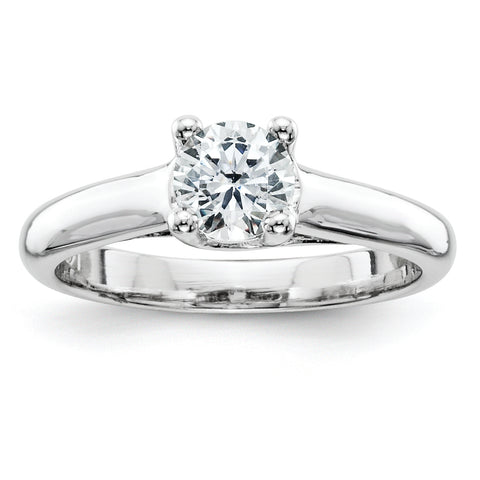 14k White Gold AAA Diamond solitaire ring