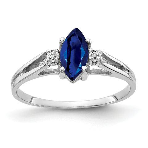 14k White Gold 8x4mm Marquise Shape Natural Sapphire & Diamond Ring