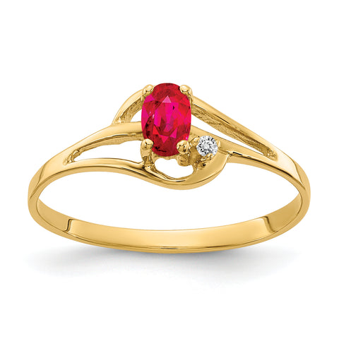14k 5x3mm Oval Ruby VS Diamond ring