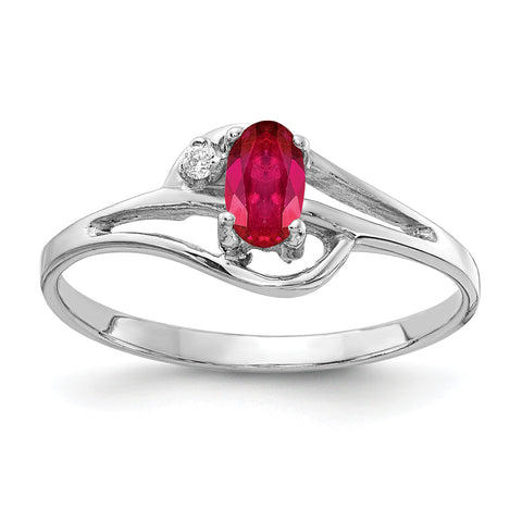 14k White Gold 5x3mm Oval Ruby VS Diamond ring