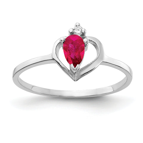 14k White Gold 5x3mm Pear Ruby VS Diamond ring