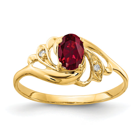 14k 6x4mm Oval Created Ruby AAA Diamond ring