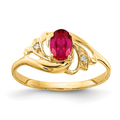 14k 6x4mm Oval Ruby VS Diamond ring