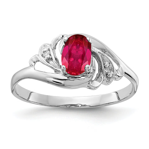 14k White Gold 6x4mm Oval Ruby VS Diamond ring
