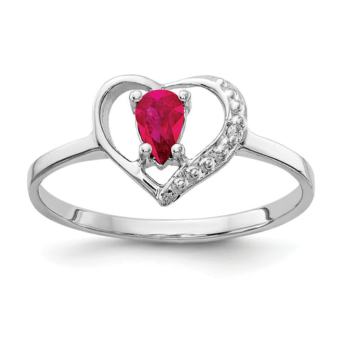 14k White Gold 5x3mm Pear Ruby A Diamond ring