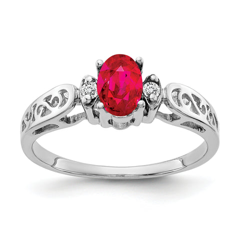 14k White Gold 6x4mm Oval Ruby A Diamond ring