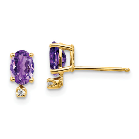 14k Diamond and Amethyst Birthstone Earrings
