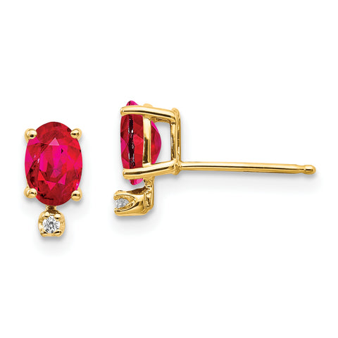 14k Diamond and Ruby Birthstone Earrings
