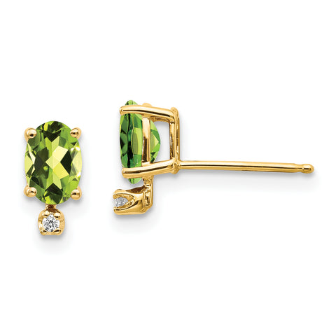 14k Diamond and Peridot Birthstone Earrings