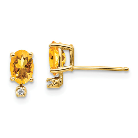 14k Diamond and Citrine Birthstone Earrings