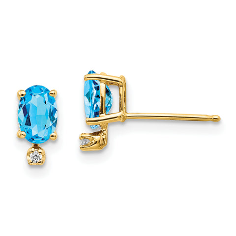 14k Diamond and Blue Topaz Birthstone Earrings