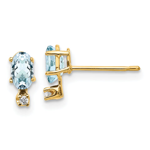 14k Diamond and Aquamarine Birthstone Earrings