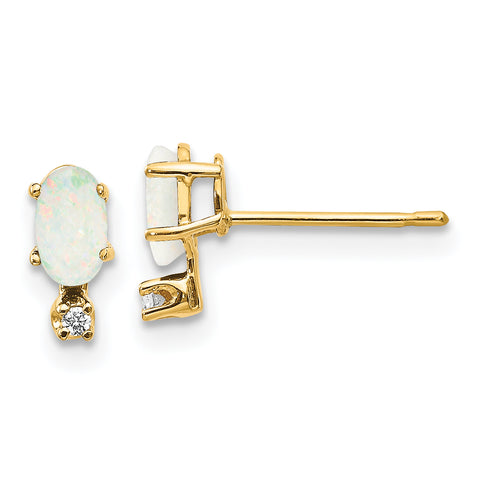 14k Diamond and Opal Birthstone Earrings
