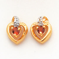 14k .01ct Diamond and Garnet Birthstone Heart Earrings