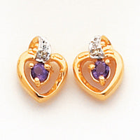 14k .01ct Diamond and Amethyst Birthstone Heart Earrings