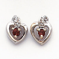 14k White Gold .01ct Diamond and Garnet Birthstone Heart Earrings