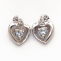 14k White Gold .01ct Diamond and White Topaz Birthstone Heart Earrings