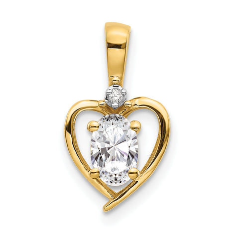 10K Yellow Gold Diamond and White Topaz Pendant