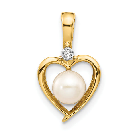 10K Yellow Gold Diamond and Pearl Pendant