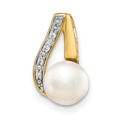 14K 7 8mm Button White FW Cultured Pearl and Rhodium Diamond Pendant