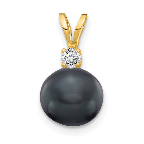 14k 7mm Black FW Cultured Pearl AAA Diamond Pendant