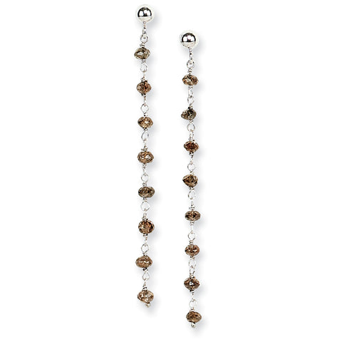14k White Gold Coffee Brown Diamond Briolette Earring