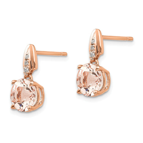 14k Rose Gold Diamond and Morganite Round Post Dangle Earrings