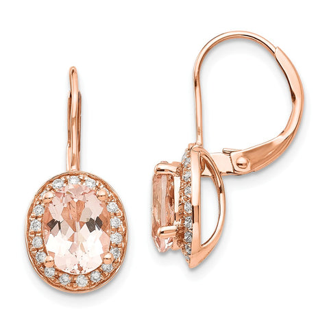 14k Rose Gold Morganite & Diamond Earring