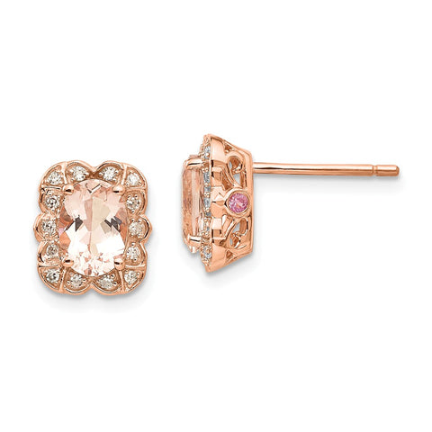 14k Rose Gold Diamond Pink Sapphire Morganite Post Earrings