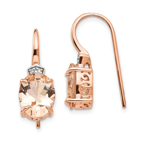 14k Rose Gold Diamond and Morganite Dangle Earrings