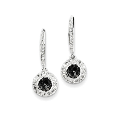 14k White Gold Black and White Diamond Leverback Earrings