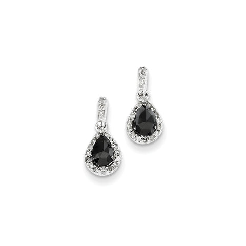 14k White Gold Black and White Diamond Post Dangle Earrings