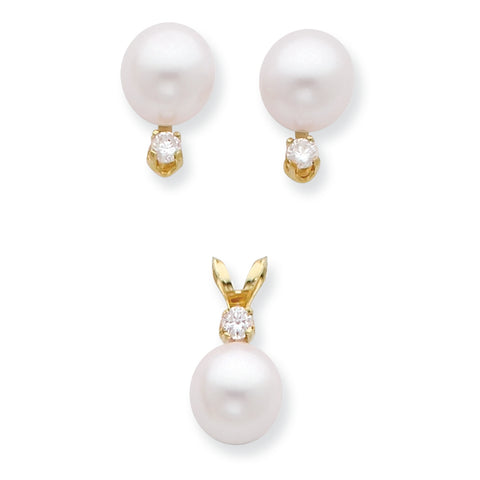 14K 7 8mm Saltwater Akoya Cultured Pearl and Diamond Earring and Pendant Set
