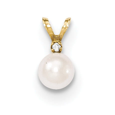 14k 5 6mm Round White Saltwater Akoya Cultured Pearl Diamond Pendant