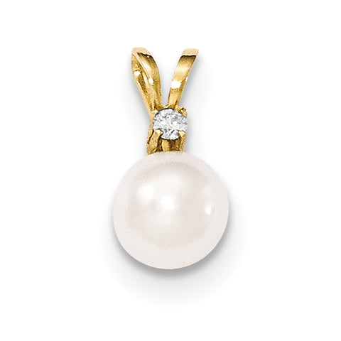 14k 8 9mm Round White Saltwater Akoya Cultured Pearl Diamond Pendant