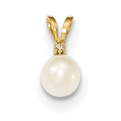 14k 5 6mm Round White Freshwater Cultured Pearl Diamond Pendant