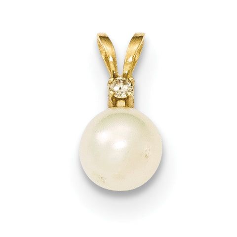 14k 6 7mm Round White Freshwater Cultured Pearl Diamond Pendant