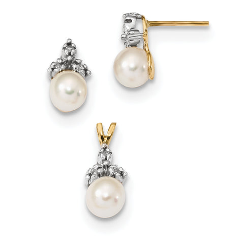 14k 5 6mm White Round FWC Pearl .09ct Diamond Earring/Pendant Set