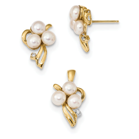 14k 4 5mm White Button FWC Pearl .03ct Diamond Earring/Pendant Set