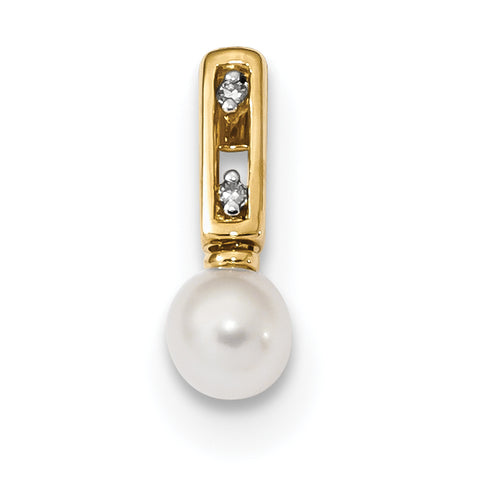 14K Gold with Freshwater Cultured Pearl and Diamond Pendant