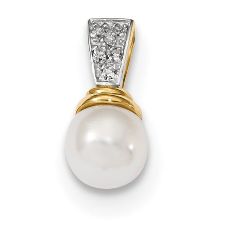 14K 6 7mm Freshwater Cultured Pearl and Diamond Polished Pendant