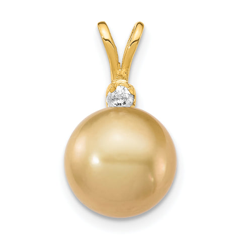 14K 9 10mm Golden Saltwater Cultured South Sea Pearl .05ct Diamond Pendant