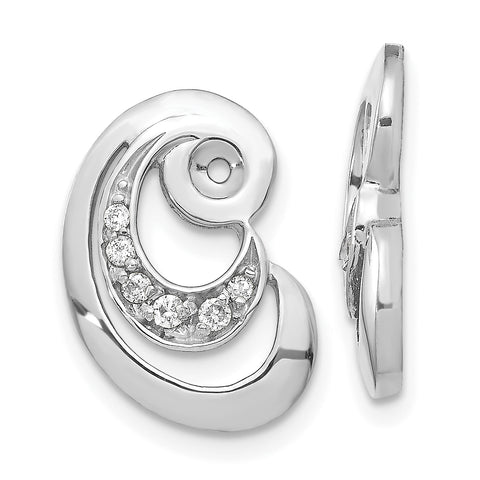 14k White Gold VS Fancy Curl Diamond Earring Jacket
