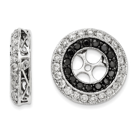 14k White Gold Black and White Diamond Earring Jackets