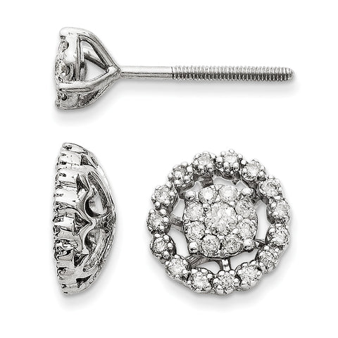 14K White Gold Small Flower and Jacket Diamond Post Earrings