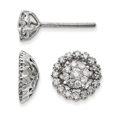 14K White Gold Medium Flower and Jacket Diamond Post Earrings