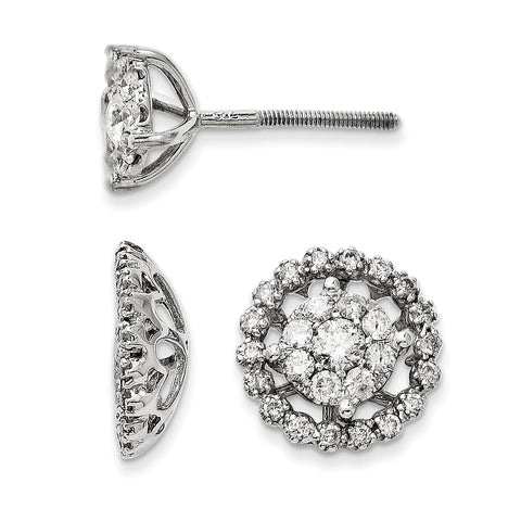 14K White Gold Large Flower and Jacket Diamond Post Earrings