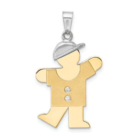 14k Two-tone Gold (H/I1 Quality) Diamond Kid Pendant