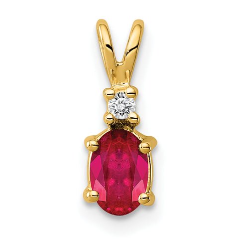 14k 6x4mm Oval Ruby VS Diamond pendant
