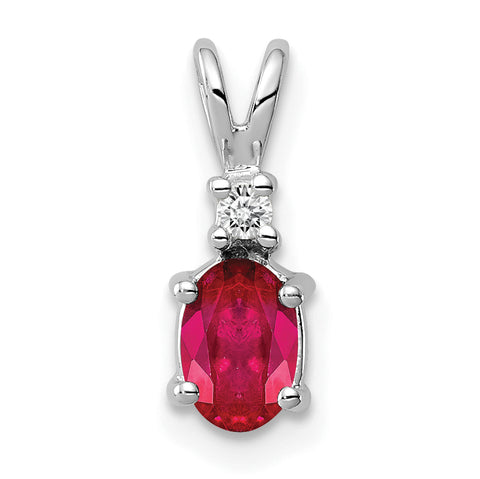 14k White Gold 6x4mm Oval Ruby A Diamond pendant